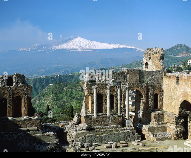 in Greek ruins Ancient world antiquity antique Italy Europe Sicily Taormina theater volcano Etna - Stock Image