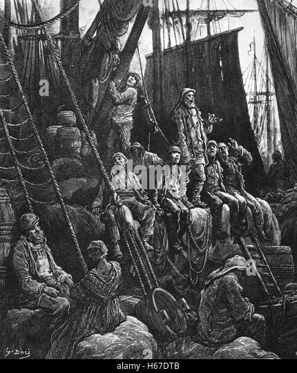 VICTORIAN LONDON DOCK WORKERS awaiting their next jobs engraved by Gustave Dore about 1870 - Stock-Bilder