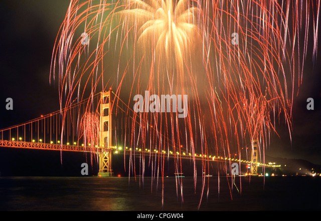 Fireworks and the Golden Gate Bridge during the 50th anniversary celebration of the opening of the bridge. - Stock Image