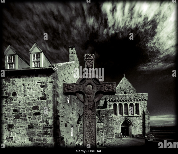 Iona cross Inner Hebrides Scotland in Monochrome - Stock Image
