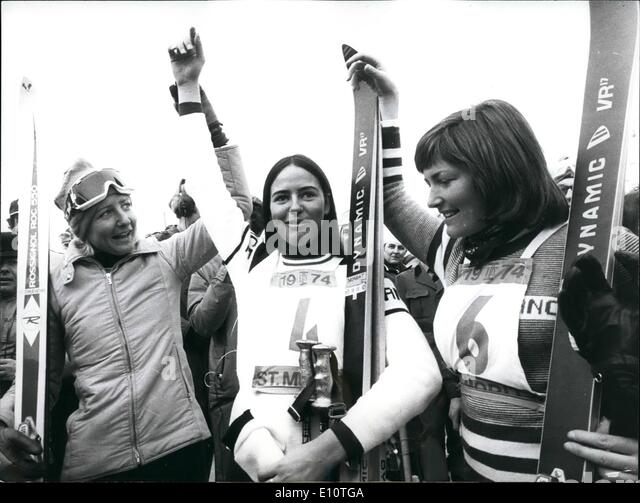 Feb. 02, 1974 - Ski-World championship in St. Moritz: The first title of worldchampion has been disputed by the - Stock Image