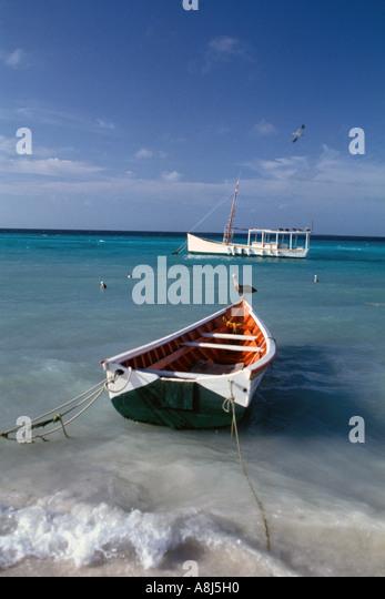 Los Roques Archipelago Venezuela Gran Roque fishing boats - Stock Image