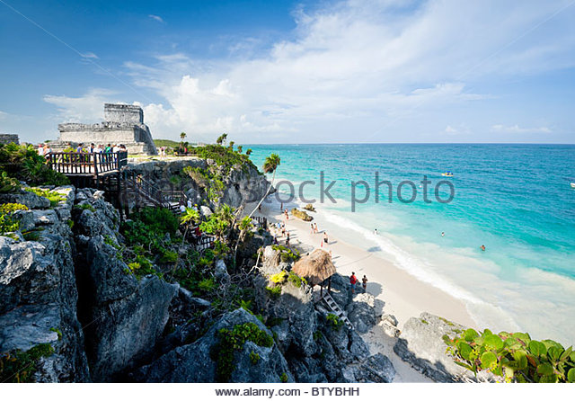 Mayan ruins at Tulum, Quintana Roo, Yucatan peninsula, Mexico. - Stock Image