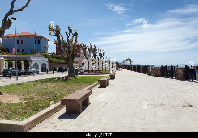 Seafront promenade of Alghero, Sardinia - Stock Image