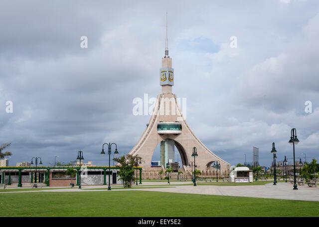 Tower of Liberty containing a revolving restaurant in Bata Equatorial Guinea, West Africa - Stock-Bilder
