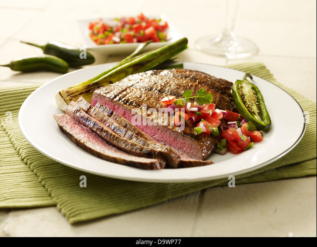 flank steak cut - Stock Image