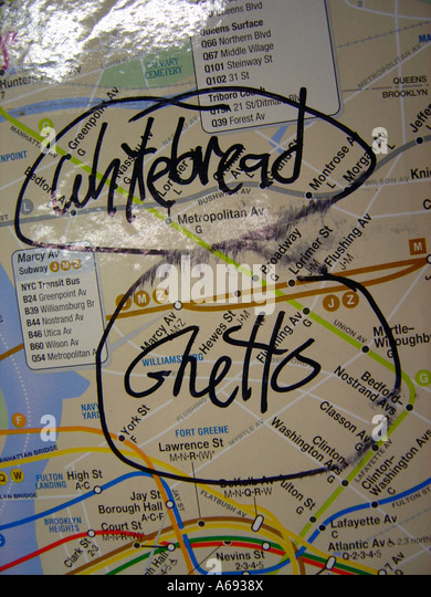 New York City Subway Map with Whitebread Ghetto Graffiti - Stock Image