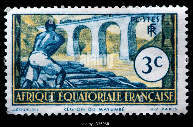 Logging on Loeme river, postage stamp, Congo, 1937 - Stock-Bilder