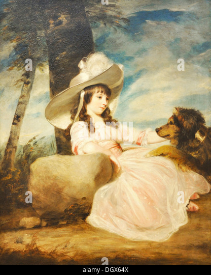 Portrait Of Miss Anna Ward With Her Dog - by Joshua Reynolds, 1787 - Stock Image
