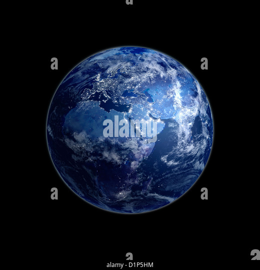 Earth at night, artwork - Stock Image