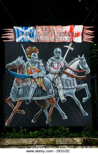 25th August 2013. Coldstream, UK.A sign at Coldstream for the Battle of Flodden when the Scottish were defeated - Stock Image