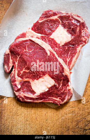 Two raw beef steaks - Stock Image
