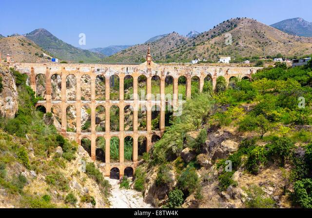 Old aqueduct in Nerja, Spain - Stock Image