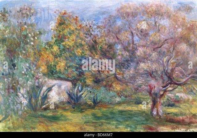 finea rts, Renoir, Auguste (1841 - 1919), painting, 'live Garden', Museum Folkwang, Essen, impressionism, - Stock-Bilder