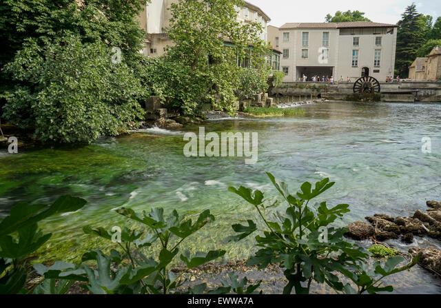 La Sorge River, Fontaine de Vaucluse, Provence, France, EuropeAvignon, Bouche du Rhone, France - Stock Image