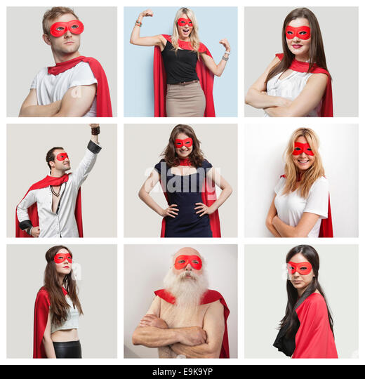 Collage of confident people wearing superhero costumes - Stock Image