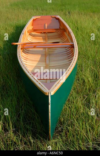 Hand Built wooden canoe - Stock Image