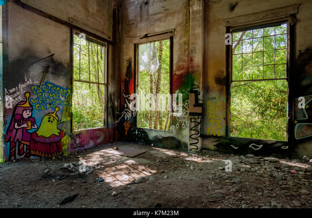 Windows of Abandoned Power Station near Jordan River, Vancouver Island, British Columbia, Canada - Stock Image