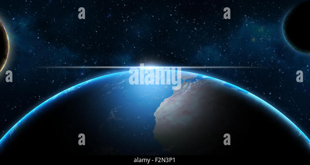 Earth and planets in Universe – fantasy science background - Stock Image