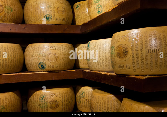 A selection of parmesan cheese in a deli in Parma, Emilia Romagna, Italy - Stock Image
