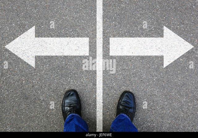 Decision decide business concept businessman goals success solution job work choice - Stock Image