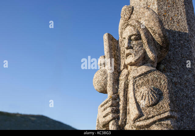 St. James sculpture, a symbol of the route at The Silver Route or Mozarabic Way, Extremadura, Spain - Stock Image