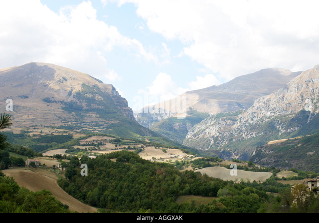 View of the Sibillini Mountains from Montefortino Le Marche Italy,Parco Nationale dei Monte Sibillini,Italy - Stock Image