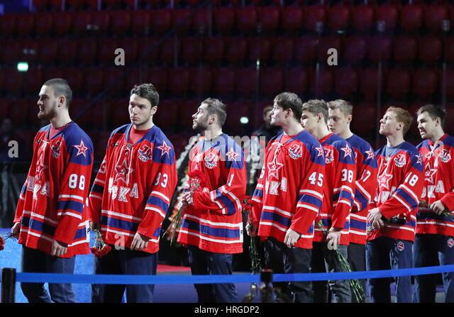 Moscow, Russia. 2nd Mar, 2017. HC CSKA Moscow players Artyom Blazhiyevsky, Artyom Sergeyev, Nikita Pivtsakin, Alexander - Stock Image