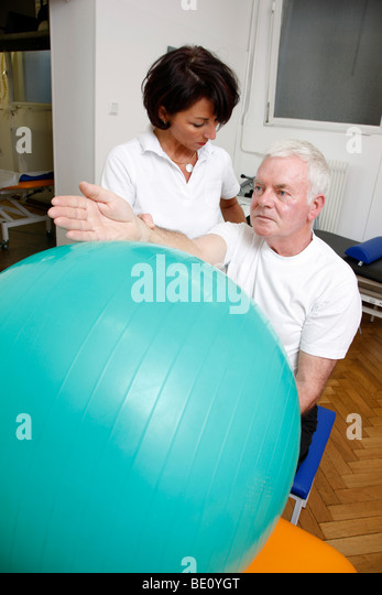 Rehabilitation facility in a hospital, physiotherapy and medical gymnastics, Gelsenkirchen, Germany - Stock Image