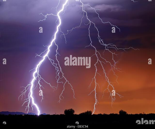 Lightning at night, Arizona, America, USA - Stock Image