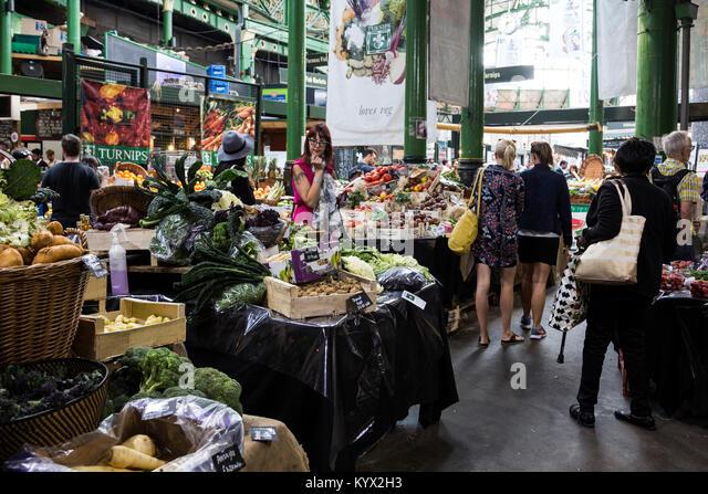 Customers browsing at Borough Market, London, England, United Kingdom - Stock Image