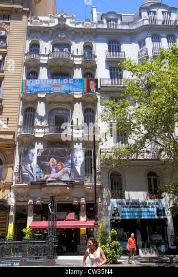 Argentina Buenos Aires Avenida de Mayo street scene apartment building flats urban housing Beaux-Arts architecture - Stock Image