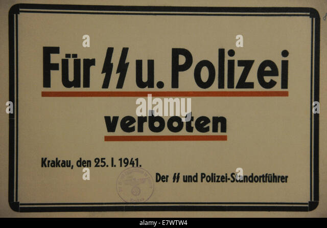 Poland. Krakow. Cartel put up in some of restaurants to ban the functionaries of the SS and the German police for - Stock-Bilder