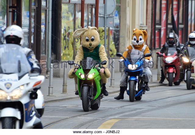 Osijek, Croatia. 15 Apr 2017. Traditionally Motorcycle Club Osijek organized action of giving gifts to children - Stock Image