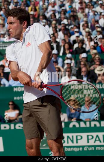 21/04/2012 Monte Carlo, Monaco. Gilles Simon (FRA) in action during the semi final singles match between Rafael - Stock Image