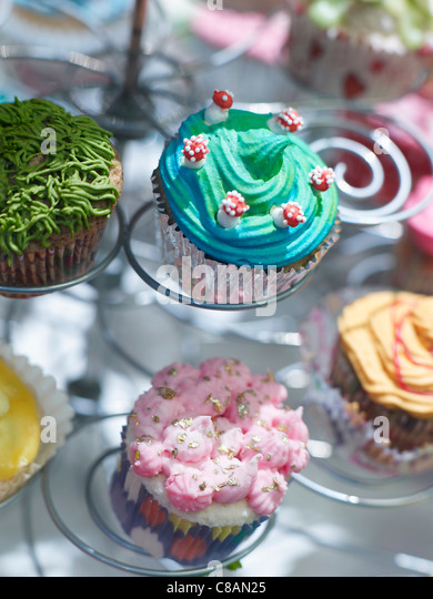 Assorted cup cakes - Stock Image