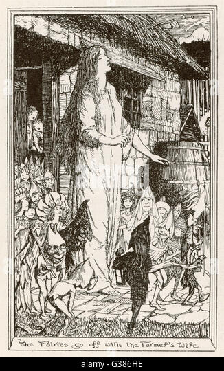 "Fairies abduct a farmer's wife  (from the Irish myth ""The  Fairy Nurse""). - Stock Image"
