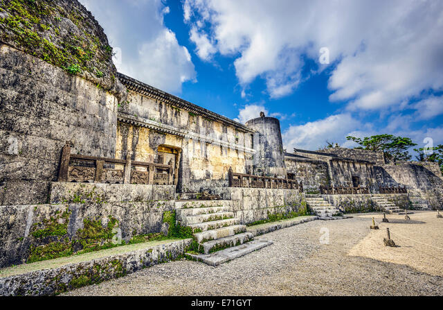 Tamaudun Mausoleum in Okinawa, Japan. The remains of 18 Ryuku kings and their families are entombed at Tamaudun. - Stock Image
