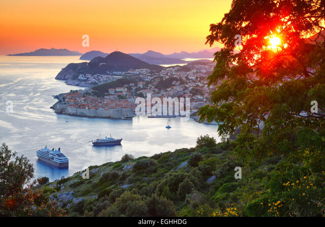 Panorama of old town Dubrovnik in sunset, Croatia. - Stock Image