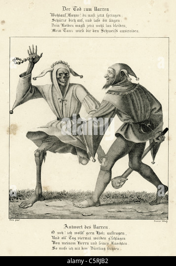 A scene from the Dance of Death or Danse Macabre a medieval allegory on the universality of death - Stock Image
