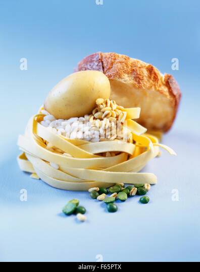 assorted starchy foods - Stock Image