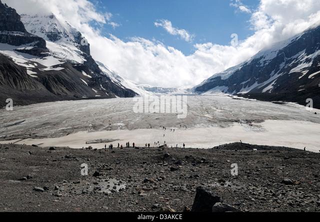 Athabasca Glacier Columbia Icefield Jasper National Park Alberta Canada climate change retreat shrink shrinking - Stock Image