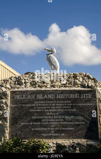 Pelican Island Historic Site Monument Bridgetown Barbadossouthern - Stock Image
