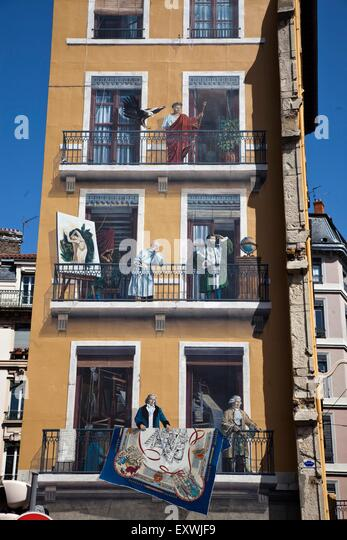 Wall painting of celebrities of Lyon, Rhone Alps, France - Stock Image