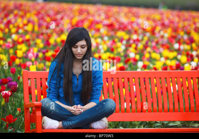 Woodburn, Oregon, United States Of America; A Teenage Girl Sits On A Bench In Front Of A Tulip Field At Wooden Shoe - Stock Image