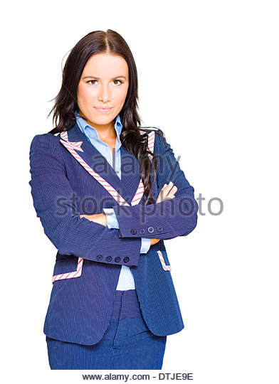 Assertive Confident And Firm Female Business Person Standing Arms Crossed In A Half Body Isolated Studio Portrait - Stock Image