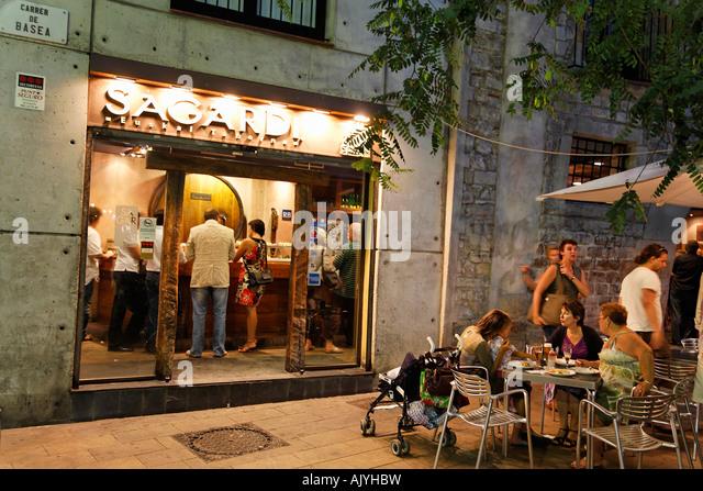 spain Barcelona typical Tapa bar Sagardi Euskal Taberna in Ribera Bodega serving small pichitos wine bar - Stock Image