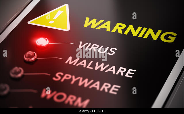 Virus attack concept. Control panel with red light and warning. Conceptual image symbol of computer infection. - Stock Image