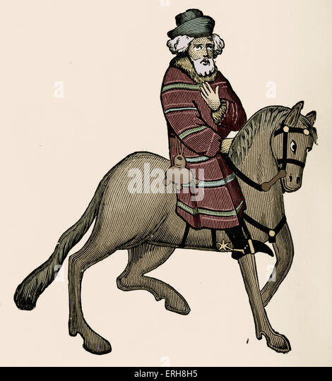 Geoffrey Chaucer ' s Canterbury Tales - The Franklin  on horseback.  English poet, c. 1343-1400. Ellesmere manuscript - Stock Image