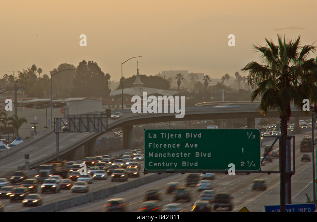 405 freeway I-405 Los Angeles CA, California highway signs bumper to bumper traffic, - Stock Image